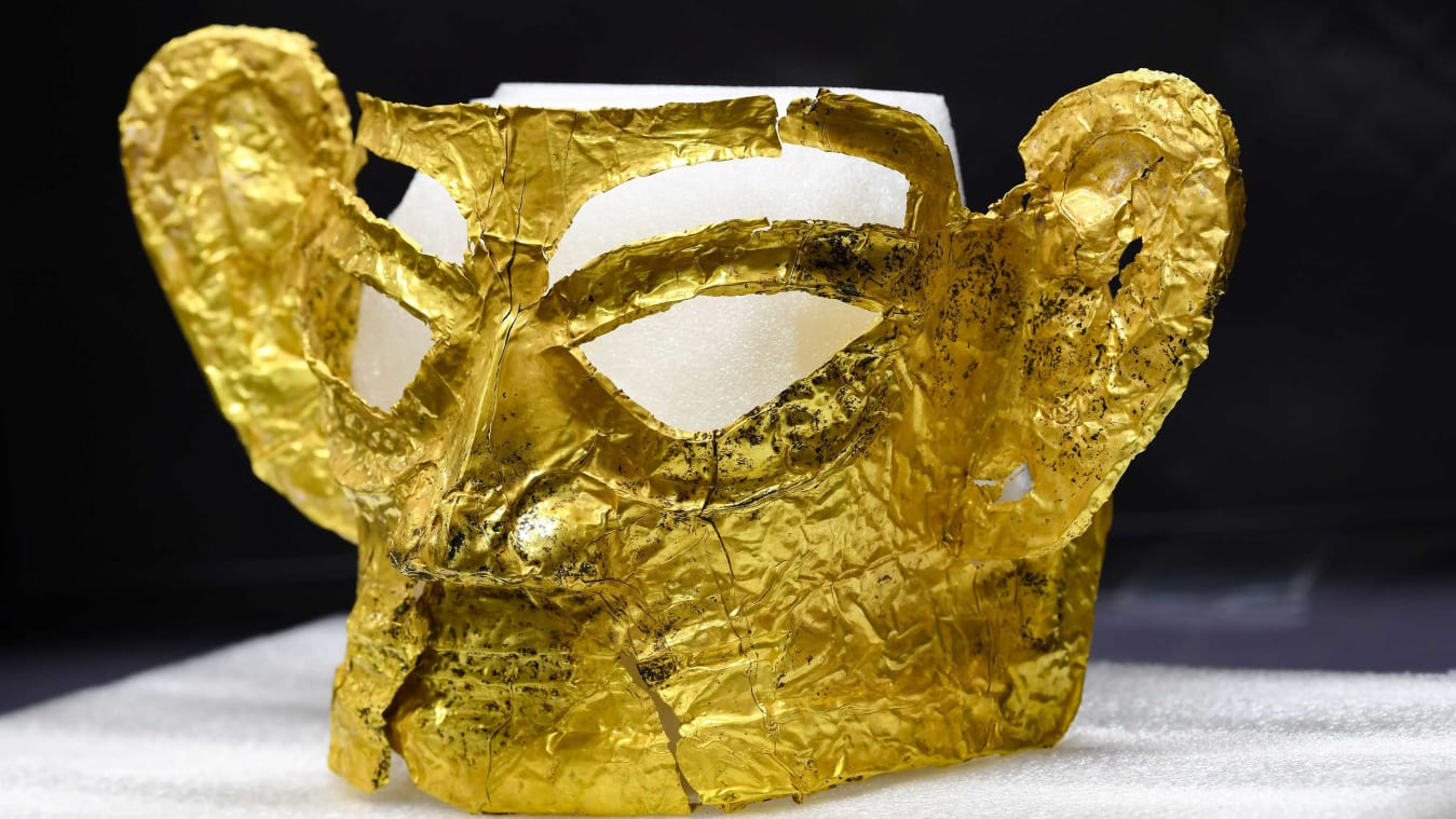Mandatory Credit: Photo by CHINE NOUVELLE/SIPA/Shutterstock (12435521h) (210909) - CHENGDU, Sept. 9, 2021 (Xinhua) - Photo taken on Sept. 2, 2021 shows a golden mask discovered at the No. 3 sacrificial pit of the Sanxingdui Ruins site in southwest China's Sichuan Province. More than 500 pieces of relics have been discovered in recent months at the legendary Sanxingdui Ruins site, dazzling archaeologists with their historical value as well as the display of creativity and ingenuity. China Sichuan Sanxingdui Ruins New Finds - 02 Sep 2021