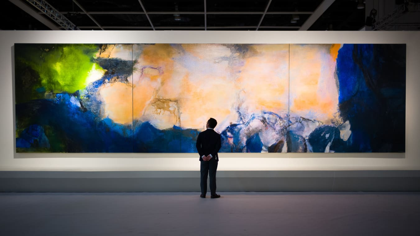 """Juin-Octobre 1985,"" by Chinese painter Zao Wou-Ki, pictured during a media preview for the piece at the Sotheby's auction house showroom in Hong Kong."
