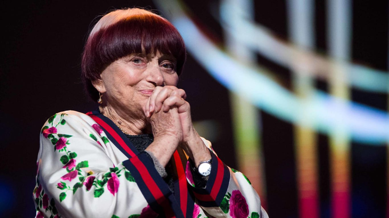 TOPSHOT - French film director Agnes Varda reacts as she receives a Honorary Award during the 17th Marrakech International Film Festival on December 2, 2018 (Photo by FADEL SENNA / AFP)        (Photo credit should read FADEL SENNA/AFP/Getty Images)