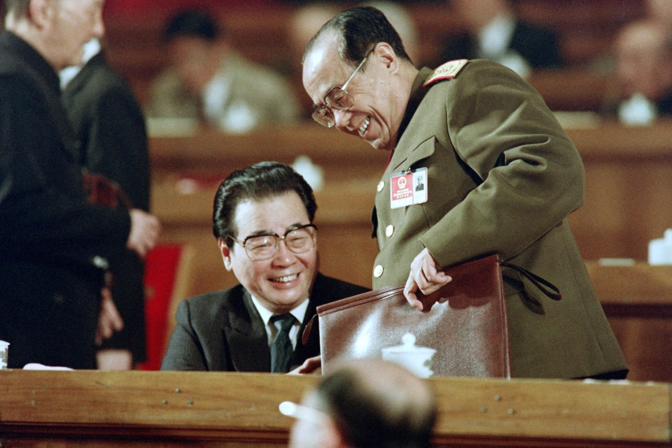 Chinese Prime Minister Li Peng (left) at the National People's Congress on March 21, 1992 in Beijing, China.