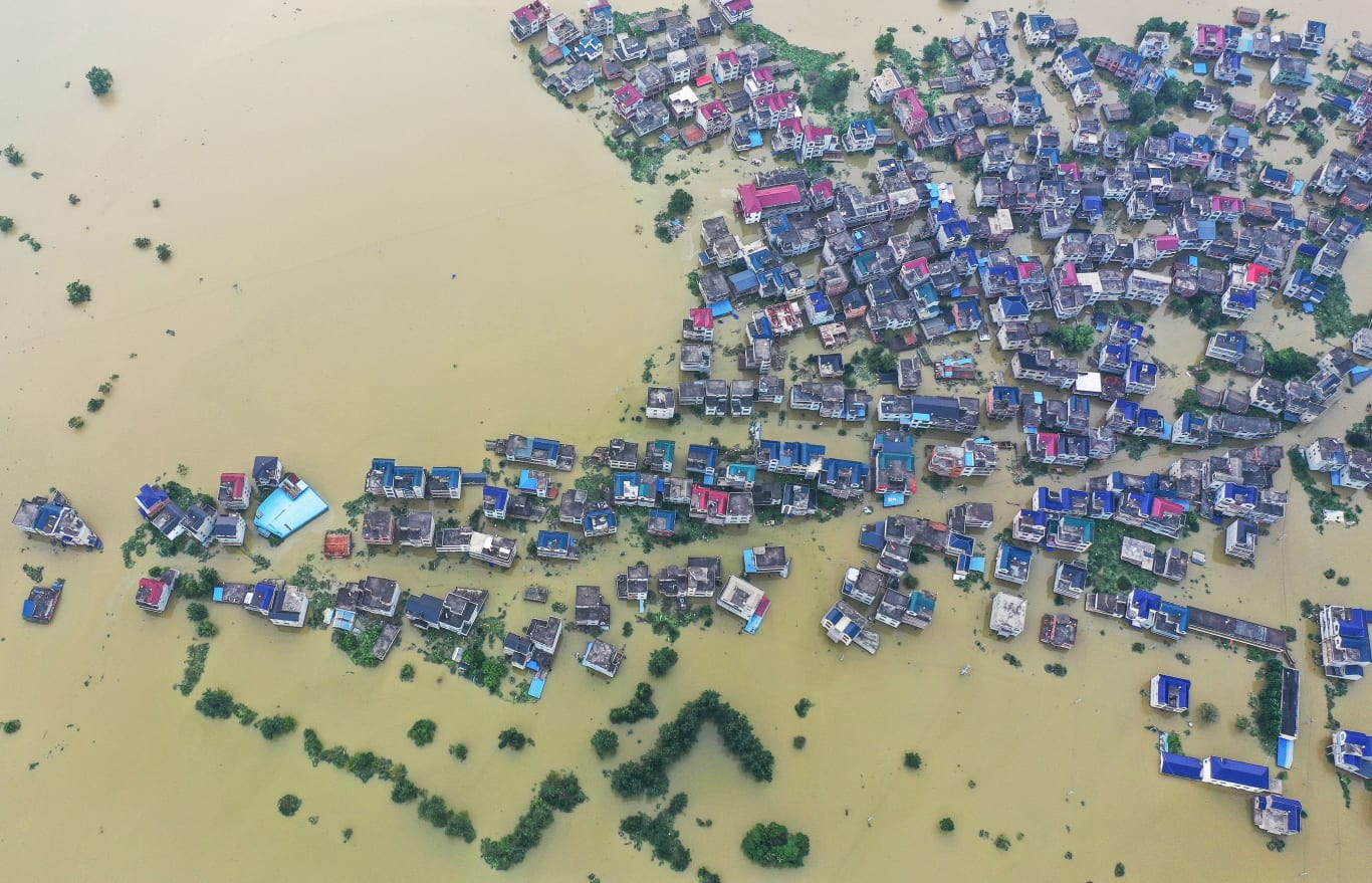 This aerial photo, taken on July 15, 2020, shows a flooded area near Poyang Lake due to torrential rains in Poyang county, Shangrao city in China's central Jiangxi province.