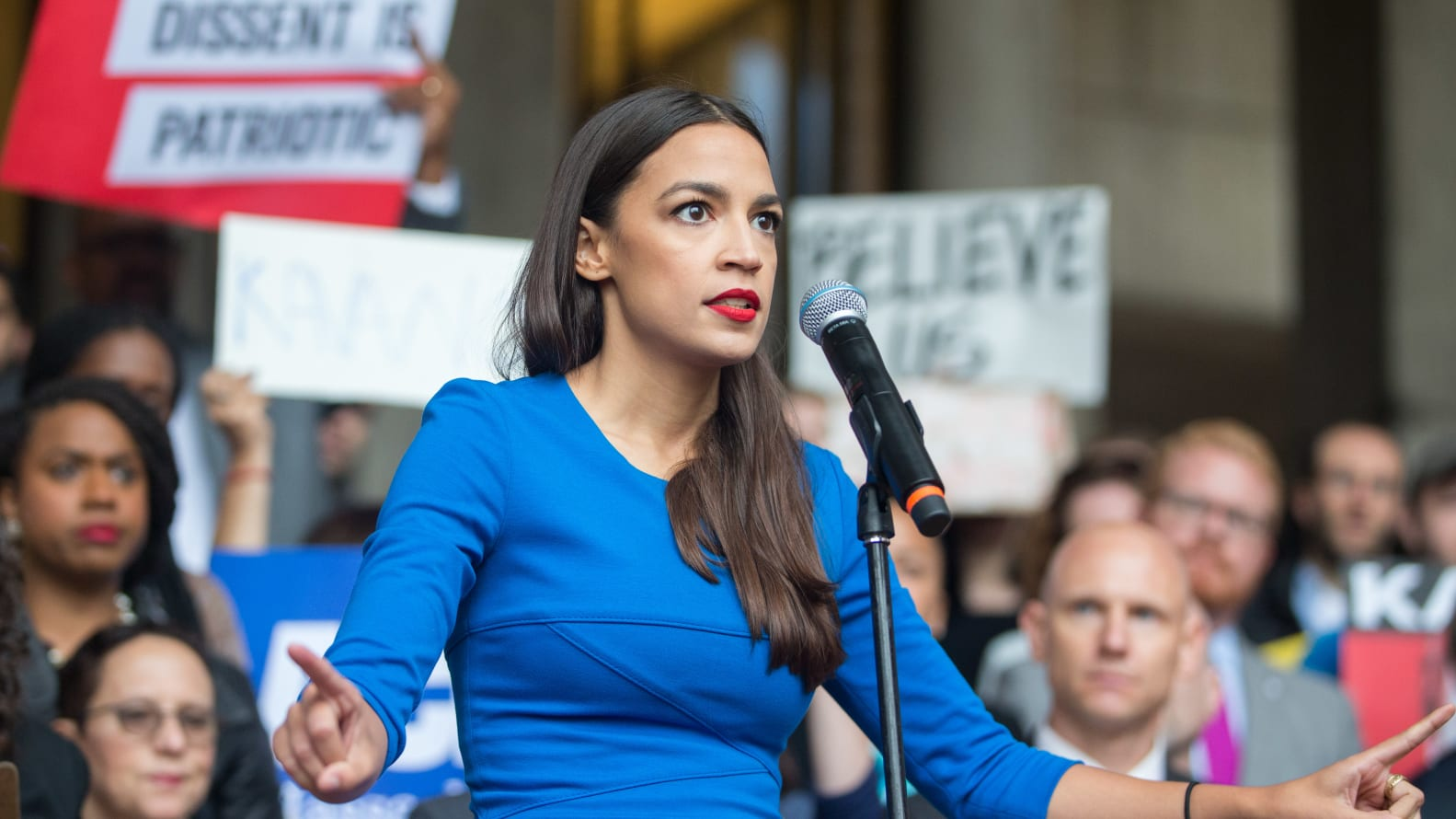 BOSTON, MA - OCTOBER 01:  New York Democratic congressional candidate Alexandria Ocasio-Cortez speaks at a rally calling on Sen. Jeff Flake (R-AZ) to reject Judge Brett Kavanaugh's nomination to the Supreme Court on October 1, 2018 in Boston, Massachusetts. Sen. Flake is scheduled to give a talk at the Forbes 30 under 30 event in Boston after recently calling for a one week pause in the confirmation process to give the FBI more time to investigate sexual assault allegations.  (Photo by Scott Eisen/Getty Images)