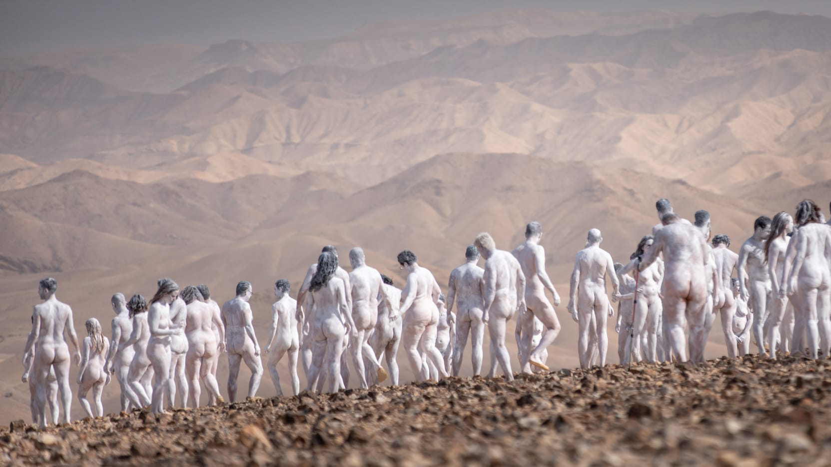 October 17, 2021. Photographer Spencer Tunick on a photo shoot set Near the Israeli city of Arad, close to the Dead Sea.