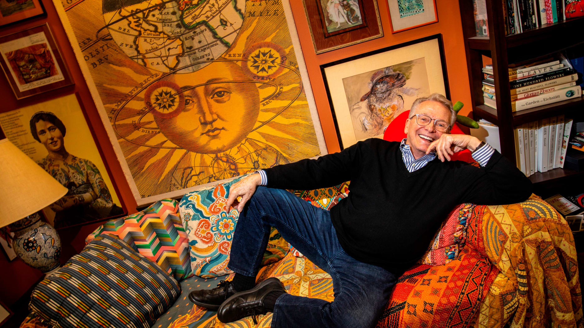 """LOS ANGELES, CA - MAY 17: Renowned costume and fashion designer and nine-time Emmy winner, Bob Mackie, is photographed in his Los Angeles, CA, office, May 17, 2019. In addition to a 2019 Tony nomination for his work on """"The Cher Show"""" musical, Mackie is set to receive the Geoffrey Beene Lifetime Achievement Award from the Council of Fashion Designers of America, Inc. (CFDA). (Jay L. Clendenin/Los Angeles Times via Getty Images)"""