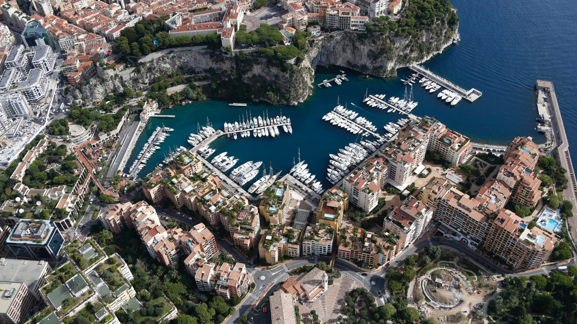 An aerial view of Monaco harbor.