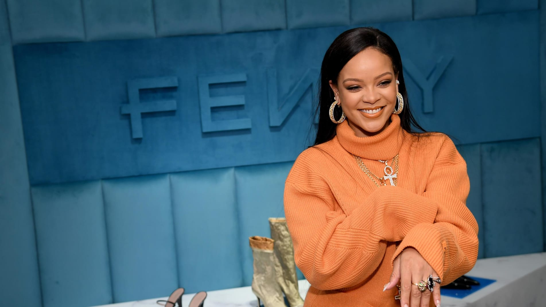Rihanna at the launch of the new Fenty collection, Fenty 2-20, at Bergdorf Goodman in New York City.