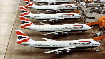 British Airways Boeing 747's at London Heathrow airport showing the new Chatham Dockyard tailfin design