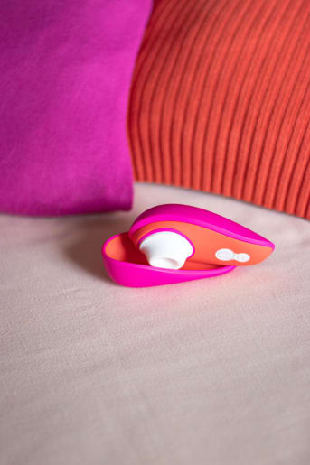The sleek hot pink and orange product retails at $99.