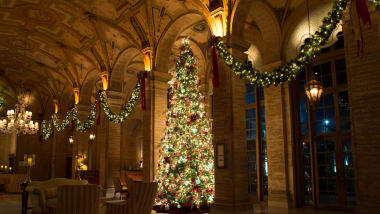 At The Breakers in Palm Beach, Florida, Christmas decorations add sparkle to the elegant
