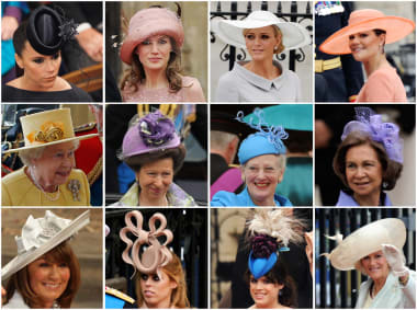 A rainbow of hats worn by guests at the wedding of Prince William and Kate  Middleton b243c49af7e