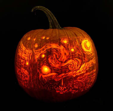 Pumpkin Carving Inspired By Van Gogh S The Starry Night