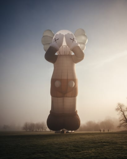 The KAWS hot air balloon pictured on a flight in Bristol, UK.