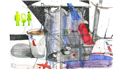 e7acaaaf08e41 Painting on planes  Stunning sketches of airplane cabins