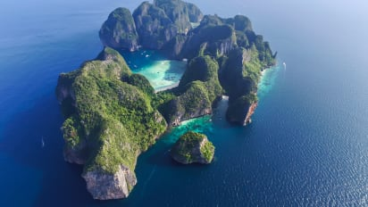 An Aerial View Of Thailand S Phi Leh Island Home To Maya Bay
