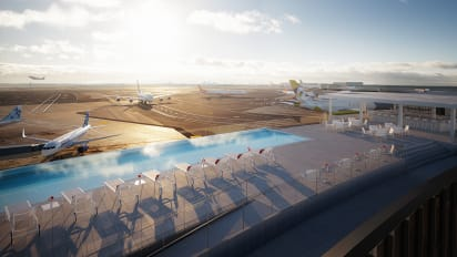 TWA Hotel\'s rooftop infinity pool at JFK Airport should make a ...
