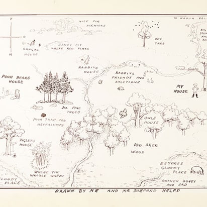 Winnie-the-Pooh map sets record at auction - CNN Style on map of san francisco, map of geneva, map of russia and neighboring countries, map of afghanistan and surrounding countries, map of fribourg, map of la chaux-de-fonds, map of switzerland, map of st. moritz, map of chernobyl, map of stuttgart, map of winterthur, map of europe and middle east, map of basel, map of asia, map of swiss alps, map of rothenburg, map of cambridge, map of tyrol, map of world, map of atlanta,