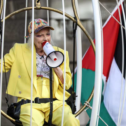 Vivienne Westwood suspends from birdcage to protest Assange ...