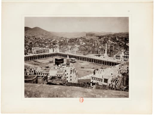 One of Muhammad Sadiq Bey's 19th-century images of the Great Mosque at Mecca, the holiest religious site for Muslims.