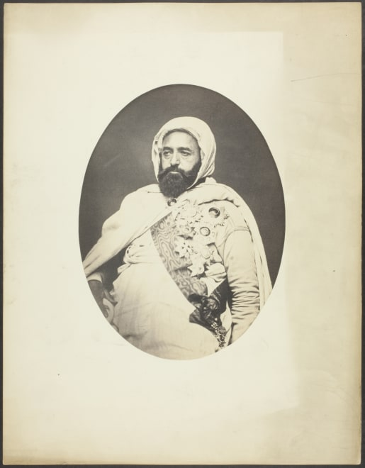 Emir Abdelkader, a key figure in the Algerian resistance, photographed by Jacques Philippe Potteau in Paris.