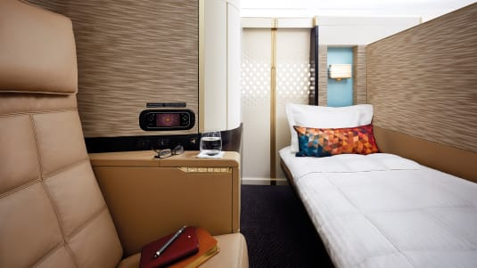 Etihad Airways' Airbus A380 'First Apartment'  features an armchair and a separate six-foot 10-inch bed.