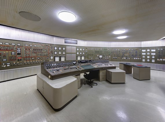 Inside the aluminum-paneled control room of the disused FR2 research reactor Karlsruhe.