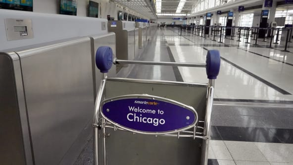 The usually busy Chicago O'Hare Airport has seen a sharp drop in passenger traffic because of the coronavirus pandemic.