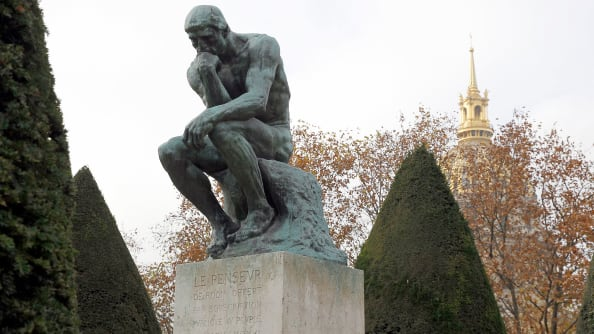"Banksy's ""The Drinker"" is a ""subversive recreation"" of ""The Thinker"" by Auguste Rodin."