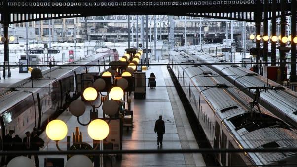 Trains Wait On The Platform Of Gare Du Nord Station In Paris