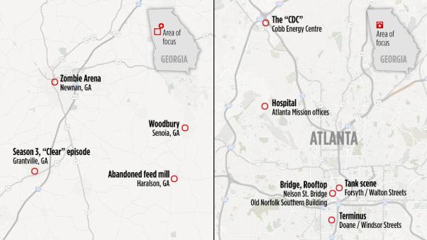 map walking dead locations
