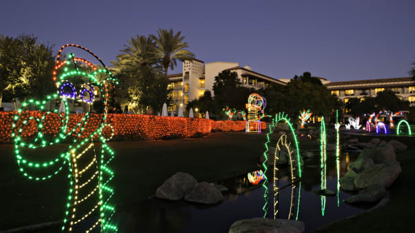 the fairmont scottsdale princess rolls out a huge outdoor light display for the holidays