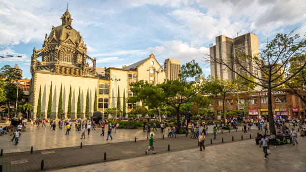 Downtown Medellin is a great place to take a stroll and soak up urban Colombian atmosphere.