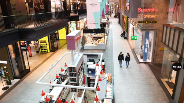 This shopping mall in the city center of Stockholm, Sweden, was nearly deserted on March 17.