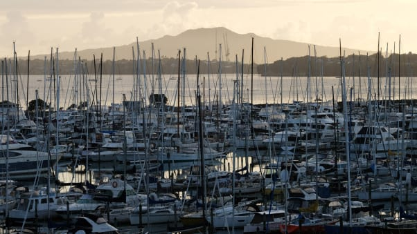 Hundreds of yachts and boats are seen on the harbour on March 26, 2020 in Auckland, New Zealand