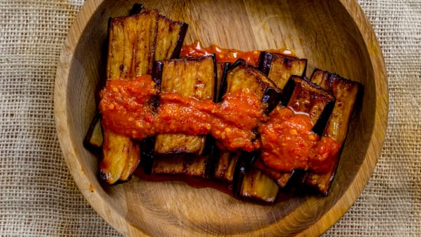 Siska Silitonga's eggplant in basil sambal is spicy and hearty.