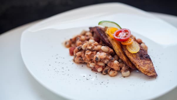 Salimatu Amabebe's beans and dodo is a beans and fried plantains dish.