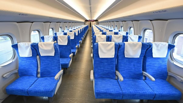 A view of the interior of the new N700S shinkansen bullet train car, which commenced service on July 1, initially linking Tokyo with Osaka.
