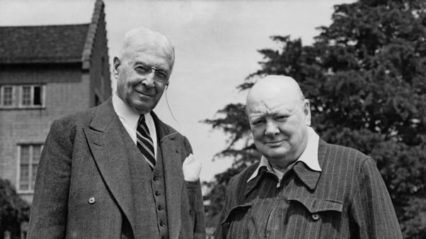 The report's mention of Winston Churchill, right, pictured here at his Chartwell home, has sparked outrage.