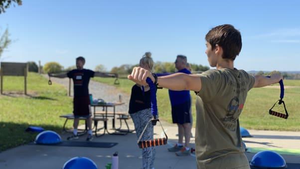 Participants exercise during a Fit Farm retreat.