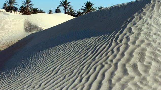 Песчаные дюны в Заафране вблизи южного тунисского города Дуз 24 декабря 2006 г.