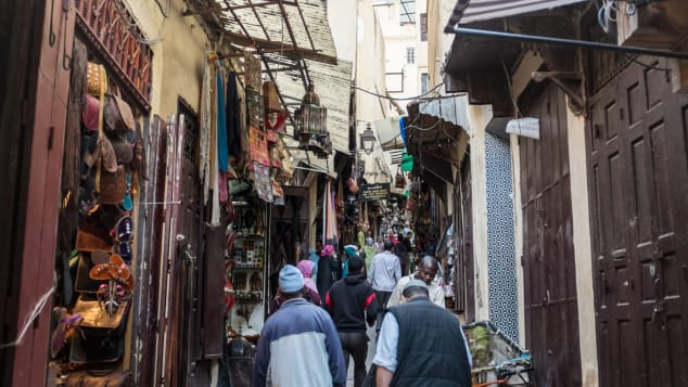 The narrow streets of Morocco's souks are filled with hagglers, hustlers, mule-drivers and motor scooters.