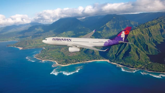 Take in the sights while flying Hawaiian Airlines from the US to Asia.