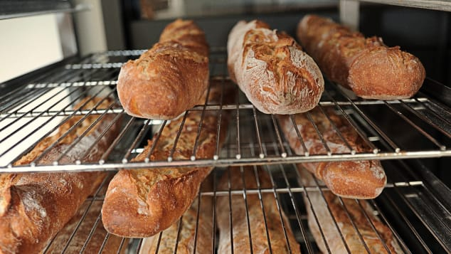 Freshly baked French baguettes -- mouthwatering.