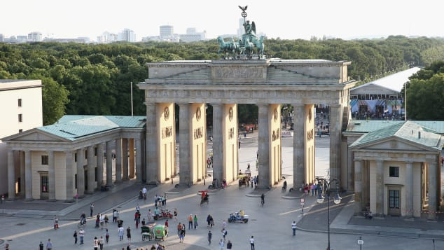 BERLIN, GERMANY - JULY 05: The Brandenburg Gate at Pariser Platz photographed during the Designers Get Together at Dachresidenz during the Mercedes-Benz Fashion Week Spring/Summer 2014 on July 5, 2013 in Berlin, Germany. (Photo by Andreas Rentz/Getty Images)