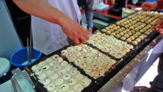 Takoyaki -- a street-food favorite in Japan.