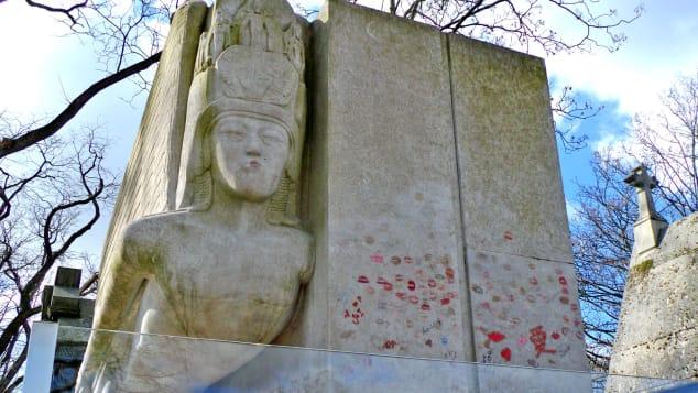 Kisses on Oscar Wilde's grave, Pere Lachaise cemetery, Paris.