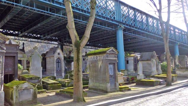 Under the bridge at Montmatre Cemetery in Paris