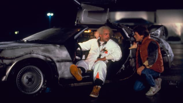 """In """"Back to the Future,"""" inventor Doc Brown succeeds in building a time travel machine."""