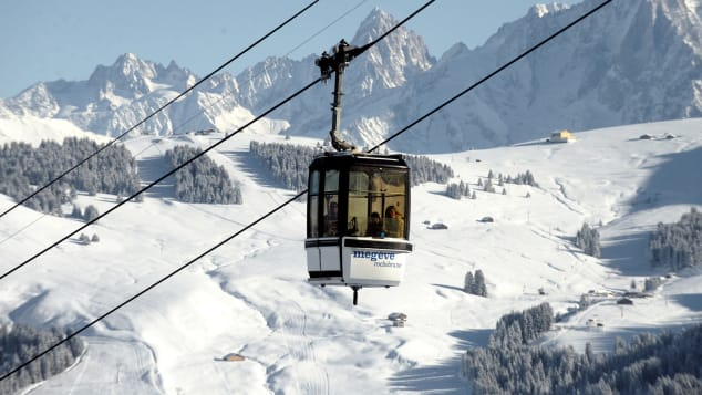 Most beautiful ski resorts Europe Megeve France cable car mountain view