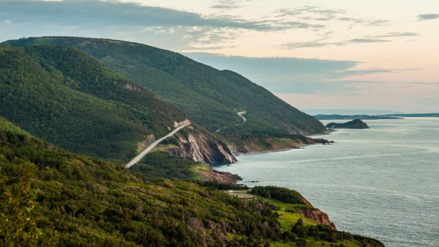 The Cabot Trail is a scenic route that loops around Cape Breton in Nova Scotia.