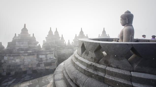 A Buddha statue at Indonesia's Borobudur Temple.